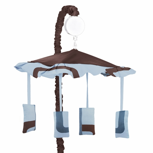 Blue and Brown Geo Musical Baby Boy Crib Mobile by Sweet Jojo Designs - Click to enlarge
