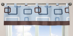 Blue and Brown Geo Window Valance by Sweet Jojo Designs