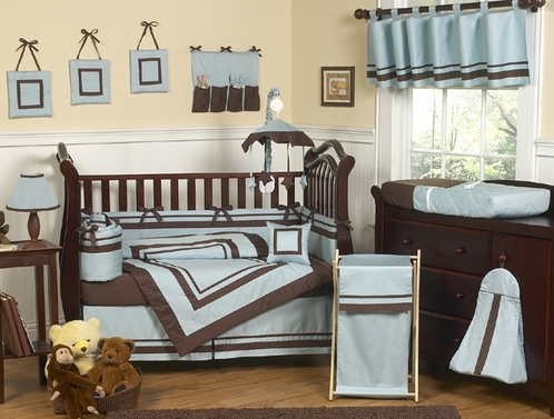 Blue and Brown Hotel Modern Baby Bedding - 9 pc Crib Set - Click to enlarge