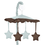 Blue and Brown Hotel Musical Baby Crib Mobile by Sweet Jojo Designs
