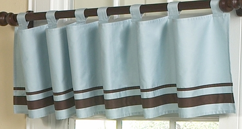 Blue and Brown Hotel Window Valance by Sweet Jojo Designs - Click to enlarge