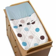 Blue and Brown Mod Dots Changing Pad Cover by Sweet Jojo Designs