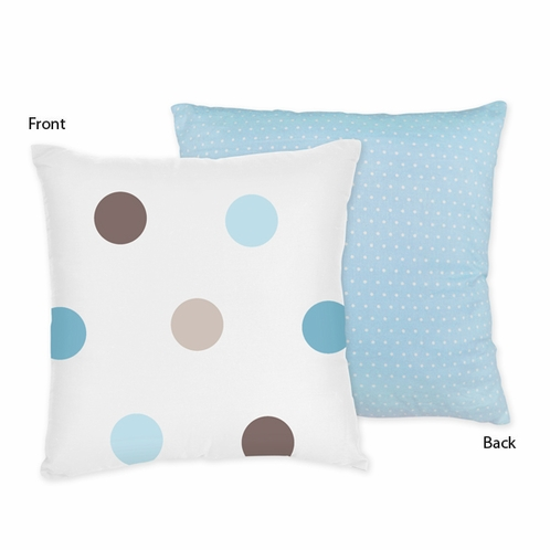 Blue and Brown Mod Dots Decorative Accent Throw Pillow by Sweet Jojo Designs - Click to enlarge