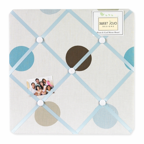 Blue and Brown Mod Dots Fabric Memory/Memo Photo Bulletin Board - Click to enlarge