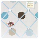 Blue and Brown Mod Dots Fabric Memory/Memo Photo Bulletin Board