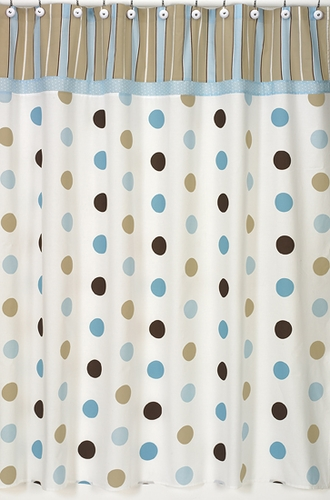 Blue and Brown Mod Dots Kids Bathroom Fabric Bath Shower Curtain ...