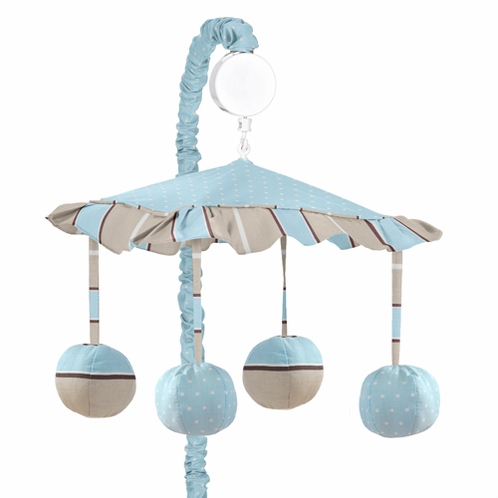 Blue and Brown Mod Dots Musical Crib Mobile by Sweet Jojo Designs - Click to enlarge