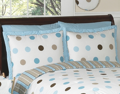 Blue and Brown Mod Dots Pillow Sham - Click to enlarge