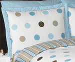 Blue and Brown Mod Dots Pillow Sham
