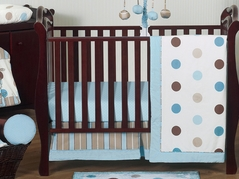 Blue and Brown Modern Polka Dot Baby Bedding - 11pc Crib Set by Sweet Jojo Designs