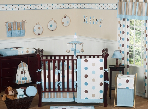 Blue and brown modern polka dot baby bedding 9 pc crib set only - Modern baby bedding sets ...