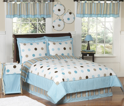 Blue and Brown Modern Polka Dots Childrens Bedding -  4 pc Twin Set - Click to enlarge