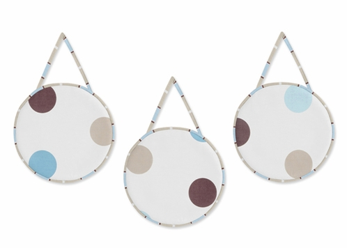Blue and Brown Modern Polka Dots Wall Hanging Accessories by Sweet Jojo Designs - Click to enlarge