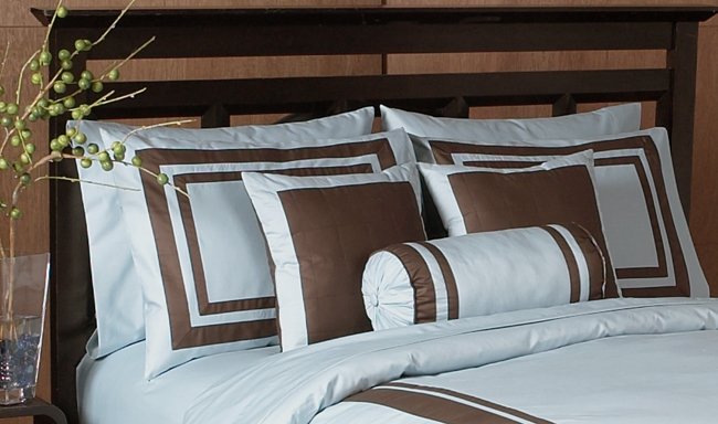 Blue And Chocolate Hotel Spa Collection Duvet Cover 6 Pc Bedding Set