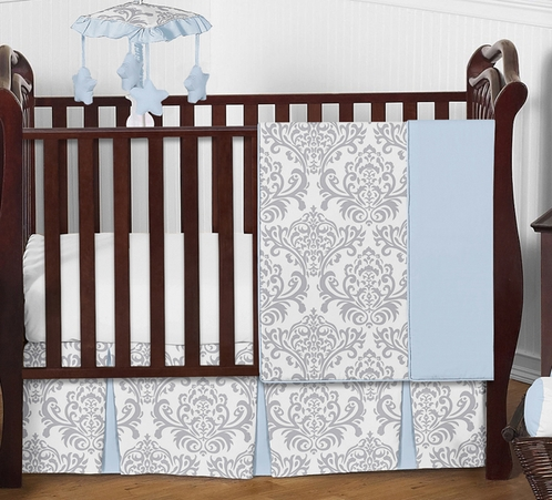 Blue and Gray Avery Baby Bedding - 4pc Crib Set by Sweet Jojo Designs - Click to enlarge