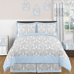 Blue and Gray Avery Childrens and Kids Bedding - 3pc Full / Queen Set by Sweet Jojo Designs