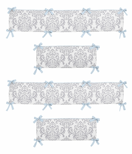 Blue and Gray Avery Collection Crib Bumper by Sweet Jojo Designs - Click to enlarge