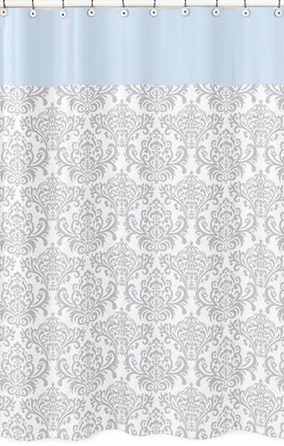 Blue and Gray Avery Kids Bathroom Fabric Bath Shower Curtain by Sweet Jojo Designs - Click to enlarge