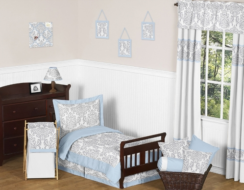 Blue and Gray Avery Toddler Bedding - 5pc Set by Sweet Jojo Designs - Click to enlarge