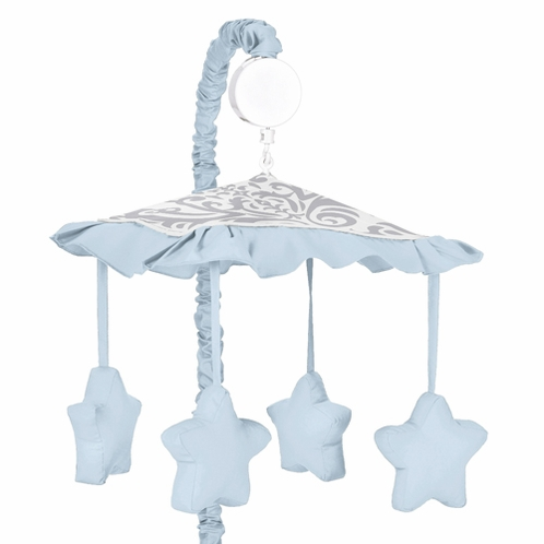 Blue and Gray Avery Musical Baby Crib Mobile by Sweet Jojo Designs - Click to enlarge