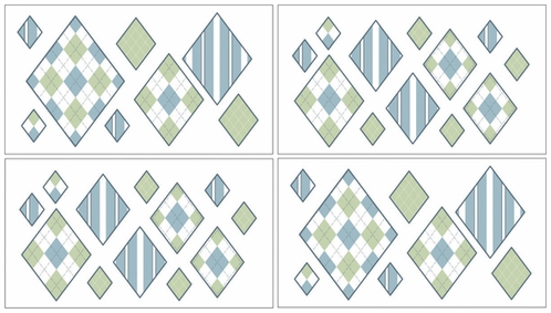Blue and Green Argyle Baby and Kids Wall Decal Stickers - Set of 4 Sheets - Click to enlarge