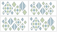 Blue and Green Argyle Baby and Kids Wall Decal Stickers - Set of 4 Sheets
