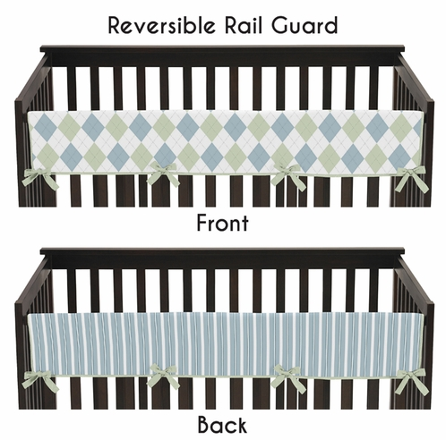Blue and Green Argyle Baby Crib Long Rail Guard Cover by Sweet Jojo Designs - Click to enlarge