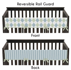 Blue and Green Argyle Baby Crib Long Rail Guard Cover by Sweet Jojo Designs