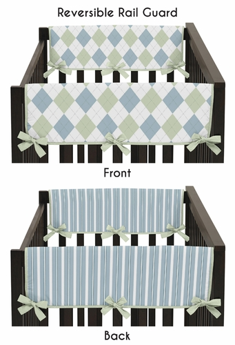 Blue and Green Argyle Baby Crib Side Rail Guard Covers by Sweet Jojo Designs - Set of 2 - Click to enlarge