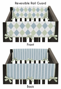 Blue and Green Argyle Baby Crib Side Rail Guard Covers by Sweet Jojo Designs - Set of 2