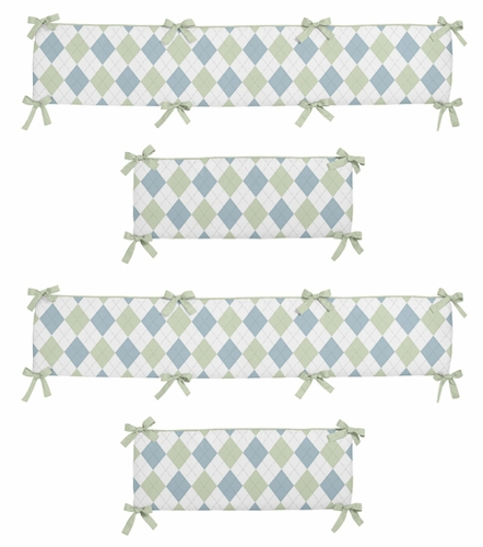 Blue and Green Argyle Collection Crib Bumper by Sweet Jojo Designs - Click to enlarge