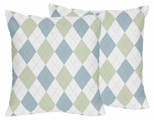 Blue and Green Argyle Decorative Accent Throw Pillows - Set of 2 - Click to enlarge