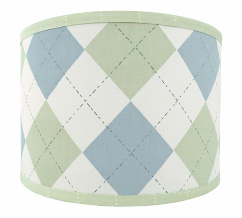 Blue and Green Argyle Lamp Shade by Sweet Jojo Designs - Click to enlarge