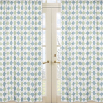 Blue and Green Argyle Window Treatment Panels - Set of 2
