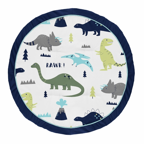 Blue and Green Dino Playmat Tummy Time Baby and Infant Play Mat for Mod Dinosaur Collection by Sweet Jojo Designs - Click to enlarge