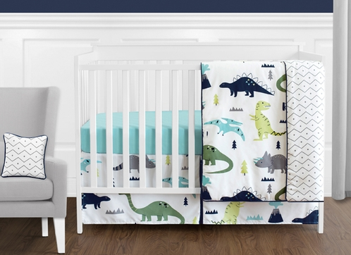 Blue and Green Mod Dinosaur Baby Boy or Girl Bedding - 11pc Crib Set by Sweet Jojo Designs - Click to enlarge