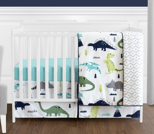Blue And Green Mod Dinosaur Baby Boy Or Girl Bedding 4pc