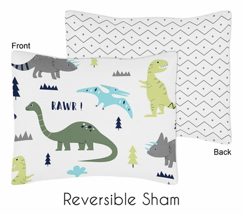 Blue and Green Mod Dinosaur Pillow Sham by Sweet Jojo Designs - Click to enlarge
