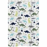 Blue and Green Mod Dinosaur Childrens Bathroom Fabric Bath Shower Curtain by Sweet Jojo Designs