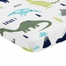 Navy, Turquoise and Grey Dinosaur Baby Fitted Mini Portable Crib Sheet for Mod Dino Collection by Sweet Jojo Designs