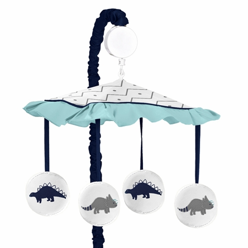 Blue and Green Mod Dinosaur Collection Musical Baby Crib Mobile by Sweet Jojo Designs - Click to enlarge