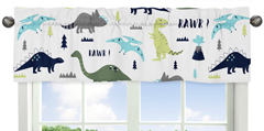 Blue and Green Mod Dinosaur Collection Window Valance by Sweet Jojo Designs