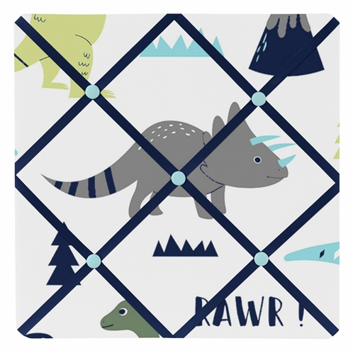 Blue and Green Mod Dinosaur Fabric Memory/Memo Photo Bulletin Board by Sweet Jojo Designs - Click to enlarge