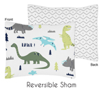 Blue and Green Mod Dinosaur Pillow Sham by Sweet Jojo Designs