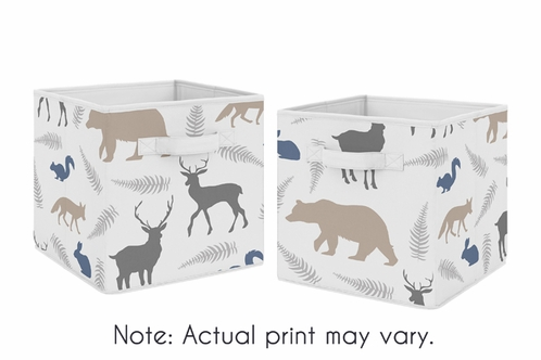 Blue and Grey Woodland Animals Foldable Fabric Storage Cube Bins Boxes Organizer Toys Kids Baby Childrens for Collection by Sweet Jojo Designs - Set of 2 - Click to enlarge