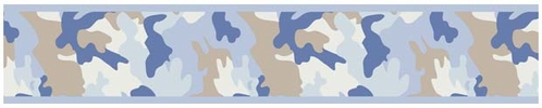 Blue and Khaki Camo Army Camouflage Baby and Kids Wall Paper Border by Sweet Jojo Designs - Click to enlarge