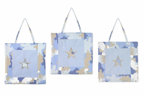 Blue and Khaki Camo Army Military Camouflage Wall Hanging Accessories by Sweet Jojo Designs - Click to enlarge