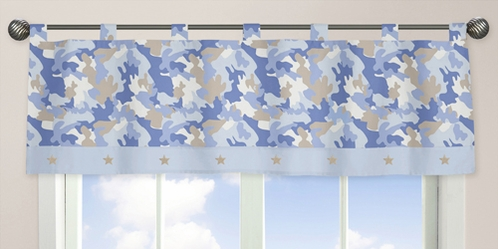 Blue and Khaki Camo Army Military Camouflage Window Valance by Sweet Jojo Designs - Click to enlarge