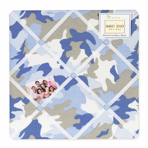 Blue and Khaki Camo Fabric Memory/Memo Photo Bulletin Board - Click to enlarge