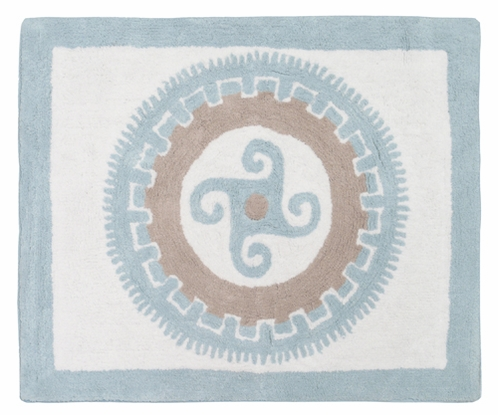 Blue and Taupe Hayden Accent Floor Rug by Sweet Jojo Designs - Click to enlarge